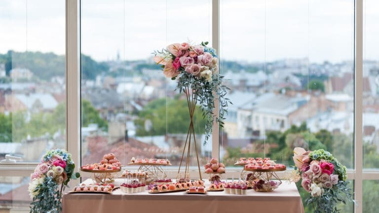 wedding table setting with colorful flowers
