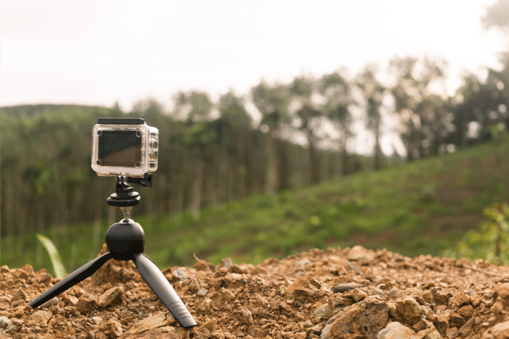 action camera on a tripod