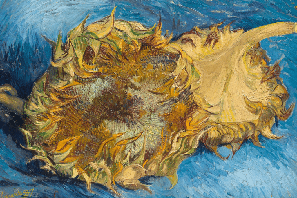 colored yellow and blue painting of Van Gogh