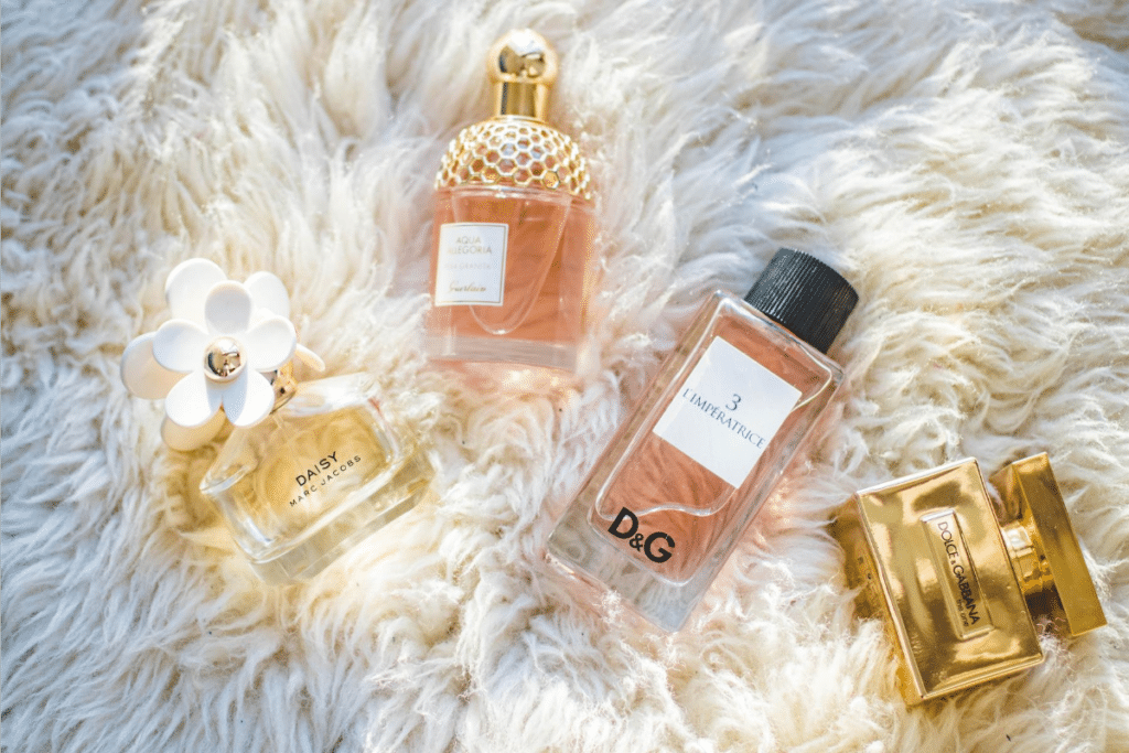 different fragrances of perfume