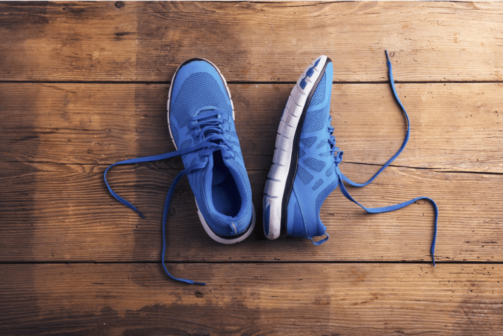 Blue-colored running shoes