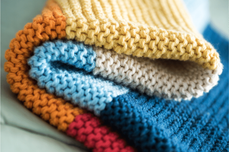 colorful knitted blanket