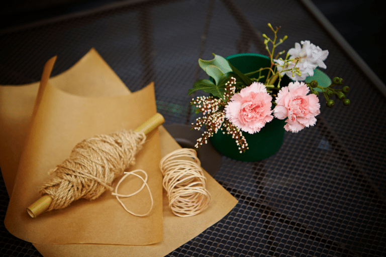 flower gift wrapper and string