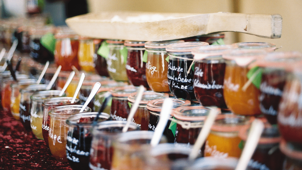 home made jams in a jar