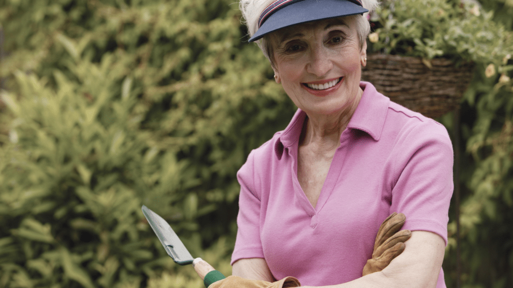 smiling woman with a shovel