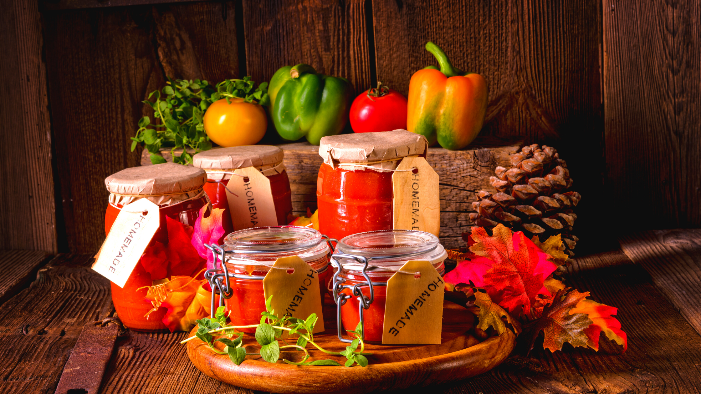 mason jars with vegetable jams